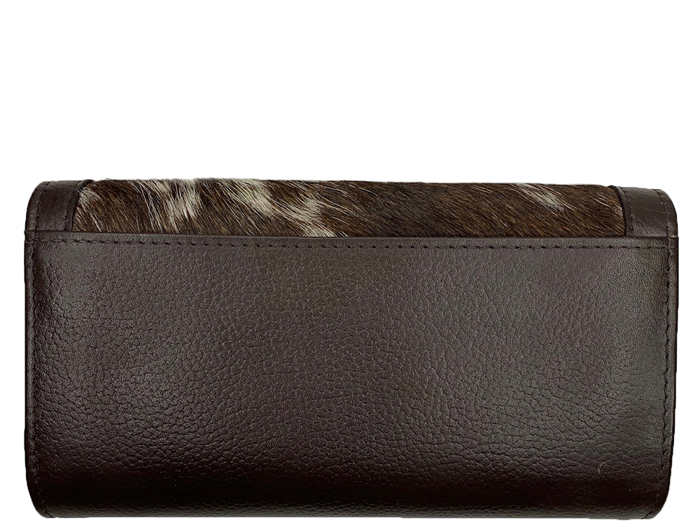 Odette Chocolate and White Cowhide Wallet