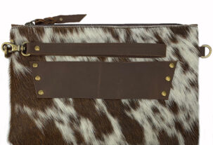 Sage Speckled Chocolate and White Cowhide Clutch