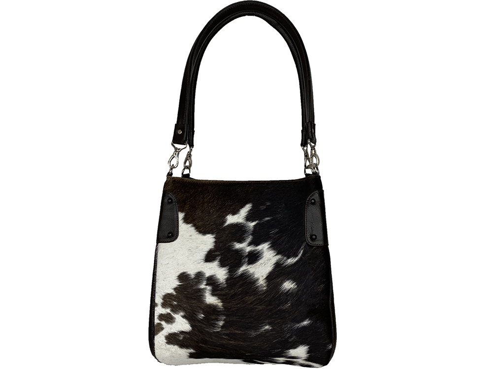 Margot Chocolate and White Cowhide Bag
