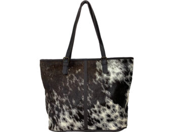 Belle Couleur - Adele Dark Chocolate and White Cowhide Bag