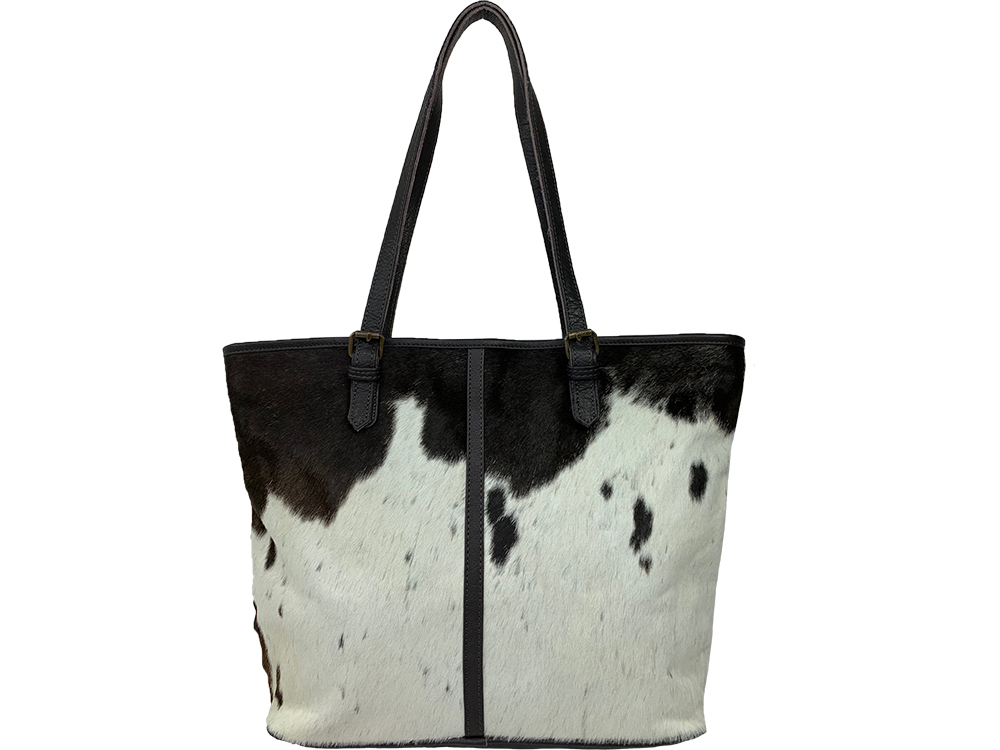 Belle Couleur - Adele Speckled Chocolate and White Cowhide Bag