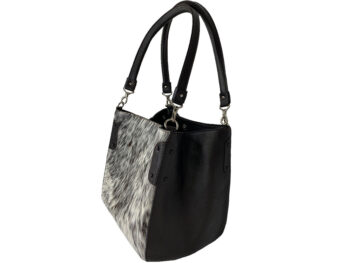 Belle Couleur - Margot Flecked Chocolate and White Cowhide Bag