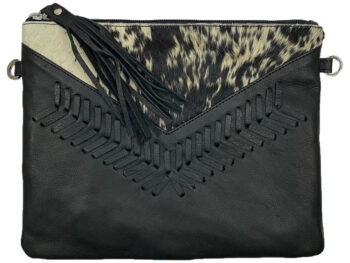 Belle Couleur - Blaise Flecked Black and White Cowhide Bag