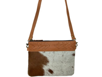 Belle Couleur - Gisele Flecked Tan and White Cowhide Bag