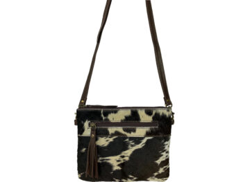 Belle Couleur - Manon Dark Chocolate and White Cowhide Bag