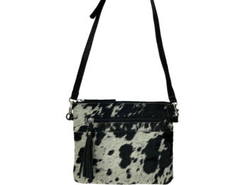Belle Couleur - Manon Flecked Black and White Cowhide Bag
