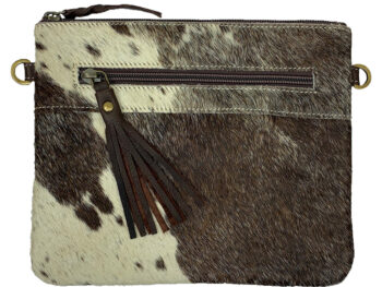 Belle Couleur - Manon Flecked Chocolate and White Cowhide Bag