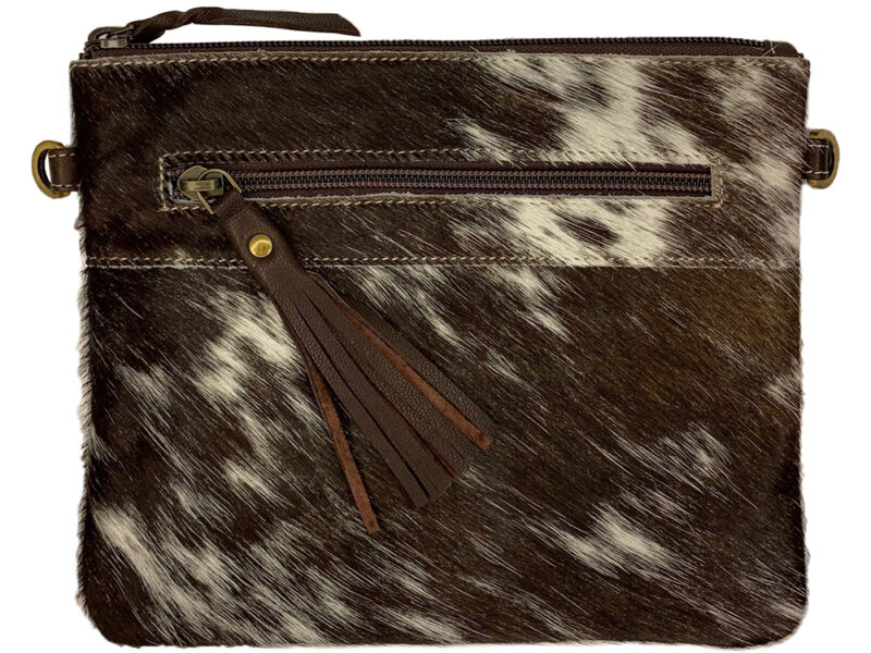 Manon Chocolate and White Cowhide Bag