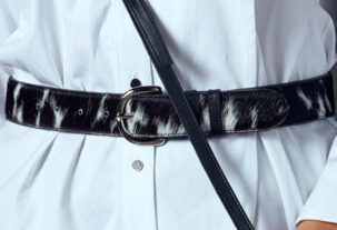 Black and White Cowhide Leather Belt
