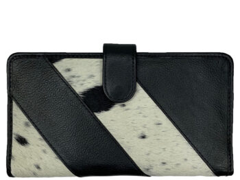 Belle Couleur - Gabriel Speckled Black and White Cowhide Travel Wallet