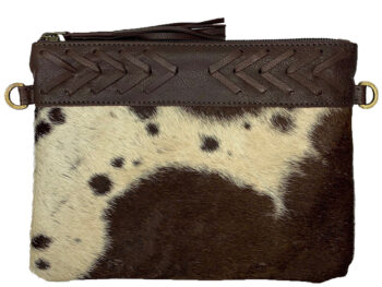 Belle Couleur - Gisele Chocolate and White Cowhide Bag