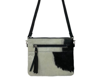 Belle Couleur - Manon Black and White Cowhide Bag