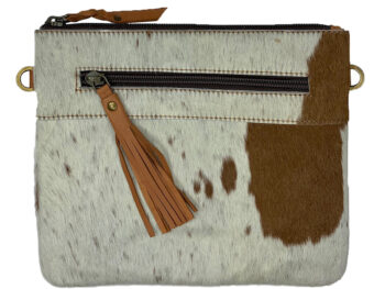 Belle Couleur - Manon Light Tan and White Cowhide Bag