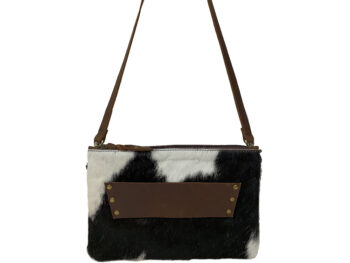 Belle Couleur - Sage Chocolate and White Cowhide Bag