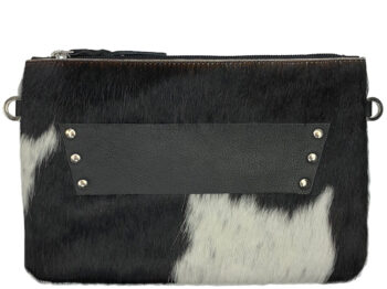 Belle Couleur - Sage Flecked Black and White Cowhide Bag