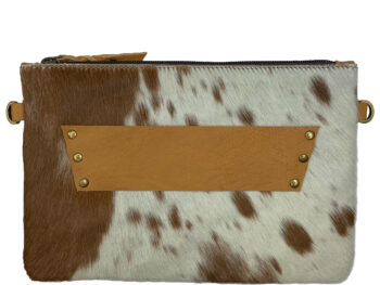 Belle Couleur - Sage Speckled Tan and White Cowhide Bag