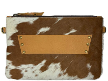 Belle Couleur - Sage Tan and White Cowhide Bag