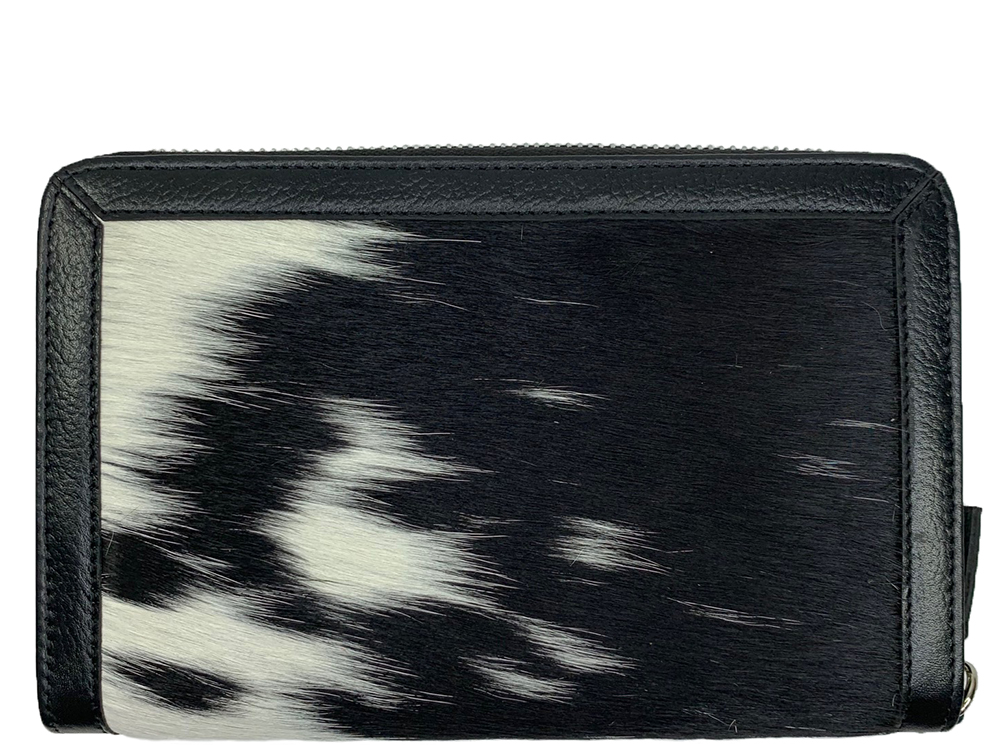 Belle Couleur - Colette Dark Flecked Black and White Cowhide Wallet