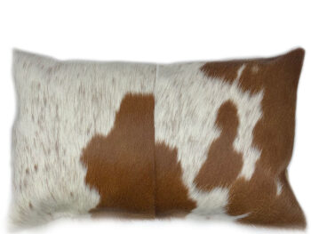 Belle Couleur - Flecked Tan and White Rectangle Cowhide Cushion