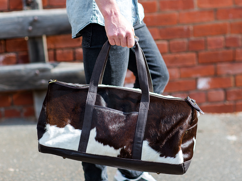 Belle Couleur - Domenique Chocolate and White Cowhide Duffel Bag