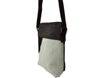 Belle Couleur - Harriet Light Chocolate and White Cowhide Bag