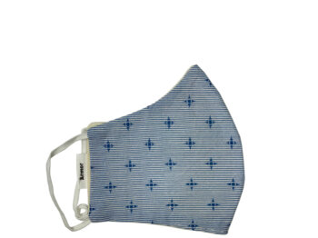 Small Fabric Face Mask - Blue Stripes