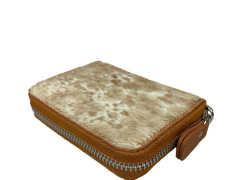 Belle Couleur - Elle Speckled Tan and White Cowhide Wallet